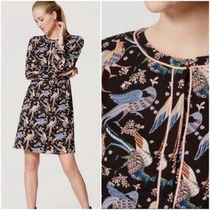 LOFT, Peacock Bird Print Long Sleeve Shirt Dress
